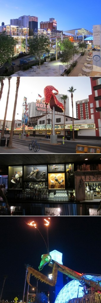 """Et à propos d'""""hipsterisation de la ville"""", rdv dans Downtown qui poursuit sa métamorphose branchée : cette année, hello le """"Container Park"""" (boutiques/bars et restos dans un incroyable agencement de containers de cargo, le tout avec une mante religieuse qui crache des flammes en rythme sur """"Who let the dog out, woh, woh, woh, woh?"""") Si, si. Mais y'a aussi le Beauty bar, le Commonwealth, le Thai, le Park on Fremont etc..."""